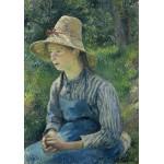 Puzzle  Grafika-02031 Camille Pissarro: Peasant Girl with a Straw Hat, 1881