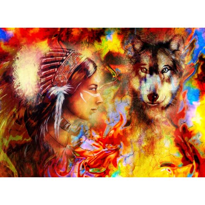 Puzzle Grafika-02678 The Indian Woman and the Wolf