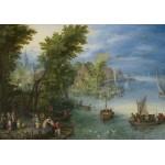 Puzzle  Grafika-02796 Jan Brueghel - River Landscape, 1607