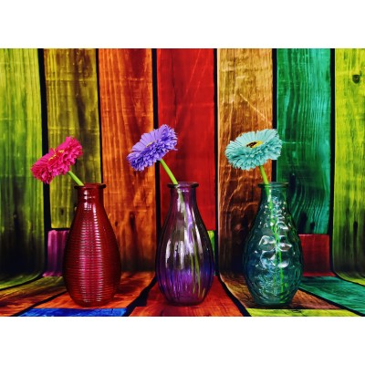 Puzzle Grafika-02821 Flowered and Colorful Vases
