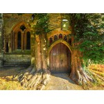 Puzzle  Grafika-02938 St Edward's Parish Church north door flanked by yew trees
