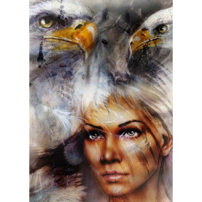 Puzzle Grafika-T-00061 Woman, Eagle and Horse