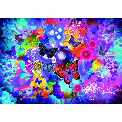 Puzzle Grafika-T-00743 Colorful Flowers and Butterflies