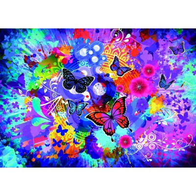 Puzzle Grafika-T-00744 Colorful Flowers and Butterflies