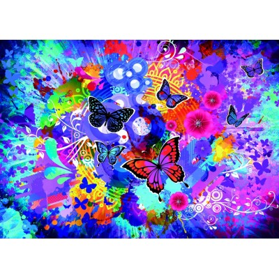 Puzzle Grafika-T-00745 Colorful Flowers and Butterflies