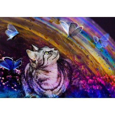 Puzzle Grafika-T-00856 Cat and Butterflies
