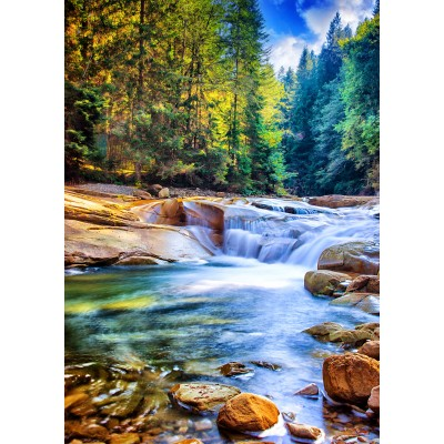 Puzzle Grafika-T-00877 Beautiful Waterfall in the Forest