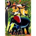 Heye-29458 Jigsaw Puzzle - 1000 Pieces - Tinga Tinga : Elephant Family
