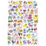 Puzzle  Heye-70168-29482 Jon Burgerman: scribbled Cats