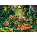 Puzzle  Jumbo-17245 Family of tigers at the Oasi