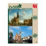 Jumbo-18347 Past and Present - 2 Jigsaw Puzzles - Munttoren Amsterdam