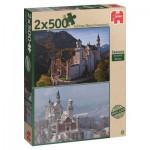 Jumbo-18348 2 Jigsaw Puzzles - Then and Now Seasons : Neuwschwanstein