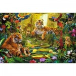 Puzzle  Jumbo-18525 Tiger Family in the jungle