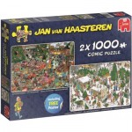 Jumbo-19080 2 Puzzles - Jan Van Haasteren - Christmas Dinner