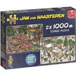 Jumbo-19080 2 Puzzles - Jan Van Haasteren - Christmas Dinner