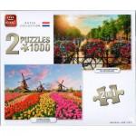2 Puzzles - Dutch Collection Sunrise Over Amsterdam & Zaanse Schans