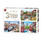 King-Puzzle-05205 3 Jigsaw Puzzles - City Collection
