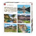 King-Puzzle-05208 5 Jigsaw Puzzles - Travel Collection