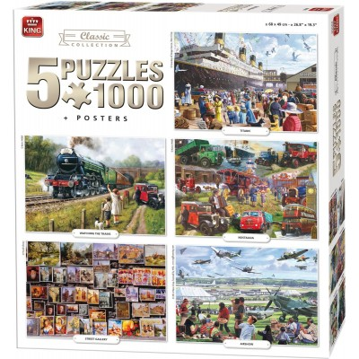 King-Puzzle-05210 5 Puzzles - Compendium, Classic Collection