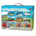 King-Puzzle-05521 9 Puzzles - Funny Vehicles