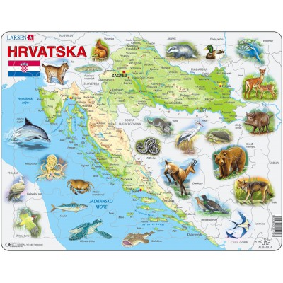 Larsen-A19-HR Frame Puzzle - Croatia with Animals