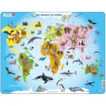 Larsen-A34-FR Frame Puzzle - Animaux du Monde (in French)