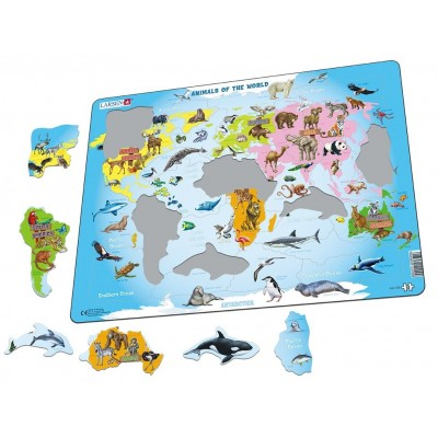 Larsen-A34-GB Frame Jigsaw Puzzle - Animals of the World