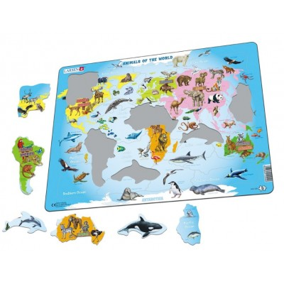 Larsen-A34-NL Frame Puzzle - Animals of the World (in Dutch)