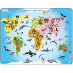 Larsen-A34-RU Frame Puzzle - Animals of the World (in Russian)