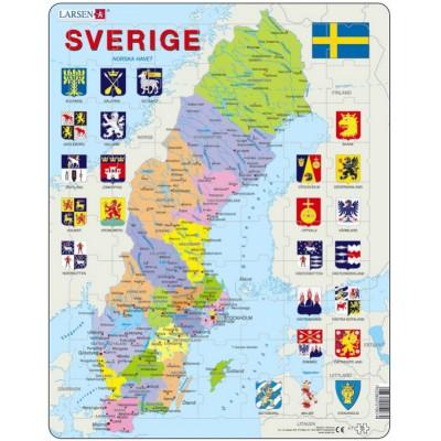 Larsen-A7-SE Frame Puzzle - Sweden Political Map