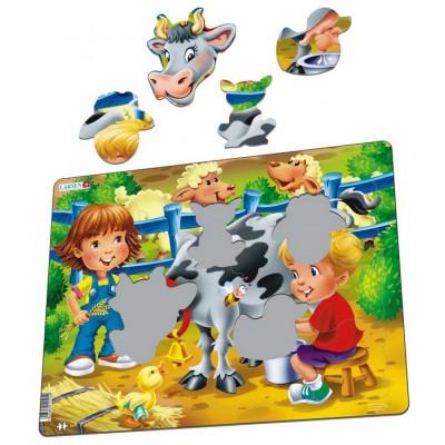 Larsen-BM5 Frame Jigsaw Puzzle - Farm Kids with Cow