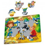 Larsen-BM5 Frame Jigsaw Puzzle - Farm Kids with Cow