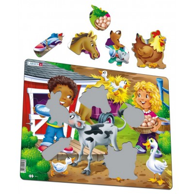 Larsen-BM6 Frame Jigsaw Puzzle - Farm Kids with Calf