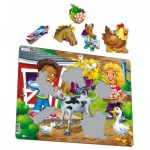 Larsen-BM6 Frame Jigsaw Puzzle - Farm Kids with Calf