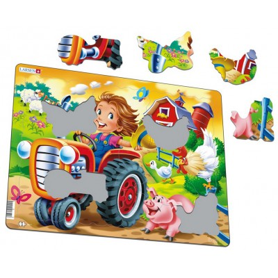 Larsen-BM7 Frame Jigsaw Puzzle - Farm Kid with Tractor
