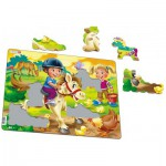 Larsen-BM8 Frame Jigsaw Puzzle - Farm Kids with Pony