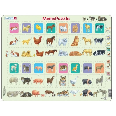 Larsen-GP11 Frame Puzzle - MemoPuzzle: Mother and Baby Animal Duo