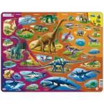 Larsen-HL1-ES Frame Puzzle - Dinosaurs (in Spanish)