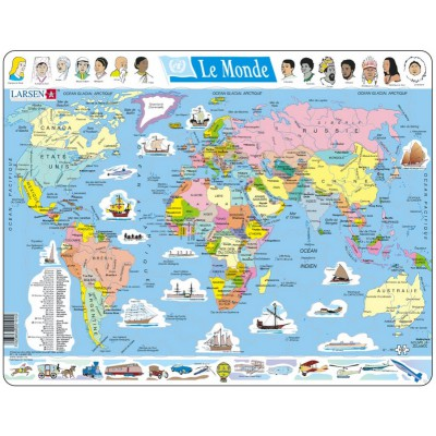 Larsen-K1-FR Frame Jigsaw Puzzle - The World Political (in French)