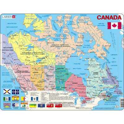 Larsen-K11-V1 Frame Puzzle - Political Canada Map (in French and English)