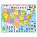Larsen-K12-RU Frame Jigsaw Puzzle - Map of the United States (in Russian)