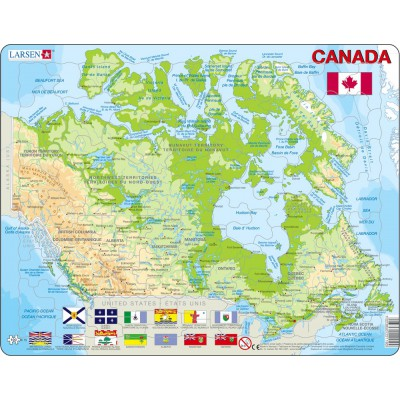 Larsen-K19-V1 Frame Puzzle - Physical map of Canada (in French and English)