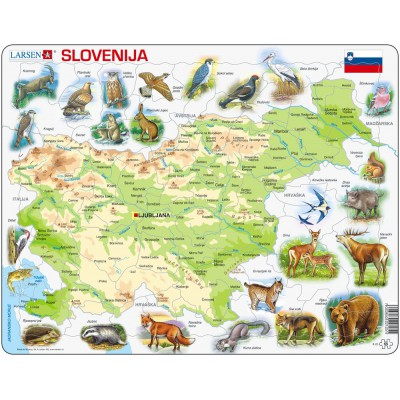 Larsen-K25-SI Frame Puzzle - Physical Map of Slovenia