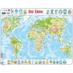 Larsen-K4-DE Frame Jigsaw Puzzle - The World Physical (in German)