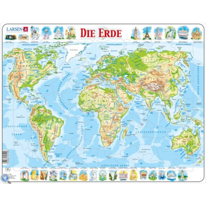 Frame Jigsaw Puzzle - The World Physical (in German)