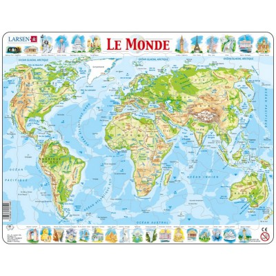 Larsen-K4-FR Frame Jigsaw Puzzle - The World Physical (in French)