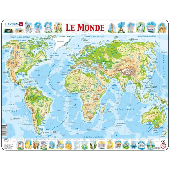 Frame Jigsaw Puzzle - The World Physical (in French)