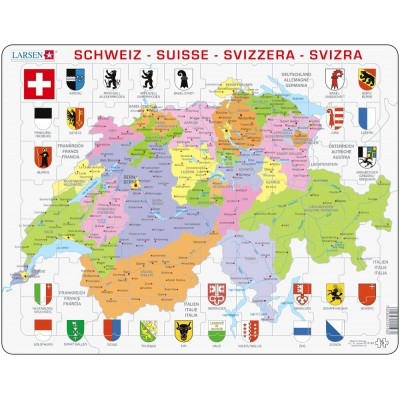 Larsen-K43-V1 Frame Puzzle - Political Map of Switzerland