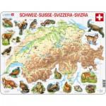 Larsen-K51-V1 Frame Puzzle - Physical map of Switzerland
