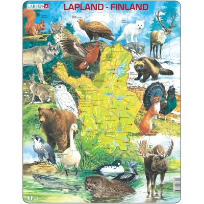 Larsen-K58-FI Frame Puzzle - Physical Map of Lappland